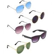 Zyaden Combo of 5 Aviator Aviator Aviator Round & Wayfarer Sunglasses-Combo 3246