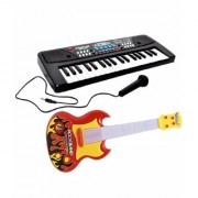 OH BABY BABY 37 Keys Melody Piano With GUITAR Dual Speakers Recording Mic And Power Saving Mode Toy SE-ET-558