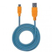 Manhattan Cavo Micro USB Guaina Intrecciata USB2.0 A M/MicroB M 1m Blu/Arancio