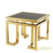 Masuta Living LUX design modern cu blat din sticla neagra Table Palmer 109994 HZ