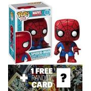 "Spider-Man: ~3.75"" Funko POP! x Marvel Universe Vinyl Bobble-Head Figure + 1 FREE Official Marvel Tr"