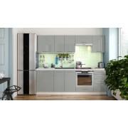 Euromebel Styl Kuchyně emilia lux - 240 cm (šedá vysoký lesk)