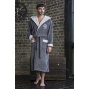 Five Wien Удлиненный мужской халат из мягкого бамбука серого цвета с принтом Five Wien FW1019 Серый