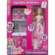Barbie Doll With Household Set Toy