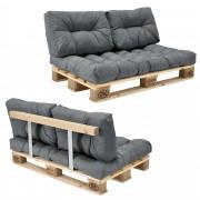 [en.casa]® Sofá de palé - europalé de 2 plazas con cojines - (gris claro) Set completo, incluido respaldo