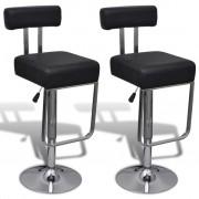 vidaXL Justerbar barstol med snurr och ryggstöd, svart konstläder, 2 st.