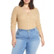 BP Button Front Long Sleeve Waffle Knit Top Plus Size BROWN BUCKTHORN