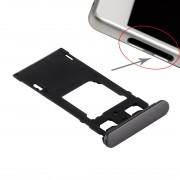 iPartsAcheter pour Sony Xperia X (Dual SIM Version) Plateau de carte SIM + Micro SD / Carte SIM Bac + Fente pour carte Port Dust Plug (Noir graphite)