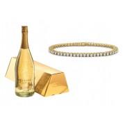 Set cadou Borealy Goldy Diamonds Tennis Classic si sampanie cu foita de aur Osterreich Gold Infuhr