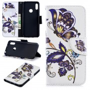 Huawei Y6 2019 / Honor 8A / Honor Play 8A (калъф кожен) 'Flowers and Butterfly'