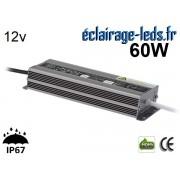 Transformateur Led 12v DC 60 Watts IP67 ref te12-60