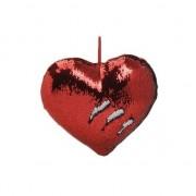 Geen Hartjes kussen rood metallic met pailletten 35 cm