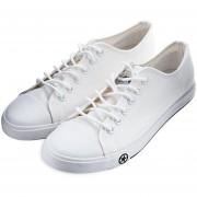 Zapatos De Lona Hombres Deportes Respirable Canvas Shoes-Blanco