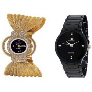 TRUE CHOICE NEW IIK Collction Black and Fency Zulla Gold Analog Watches for Women