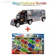 Transport car Carrier Truck Toy for Boys with Cars Inside Bundle- The mega Hauler Transporter Have 28 Slots and Highway Accessories - fits Hot Wheels and Matchbox Cars (2.1) by MEGATOYBRAND