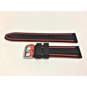 SZ1378 Alfa piros-fekete műanyag óraszíj 20-as