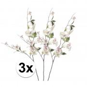 Bellatio flowers & plants 3x Roze perzikbloesem kunstbloemen tak 80 cm