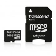 Card Transcend microSDHC 8GB Class 10 cu adaptor SD