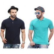 Kundan Sulz Gwalior's Exclusive for Men's 100% Pure-Cotton Polo Neck T-Shirt-Navy Blue & Leaf Green ( Pack of 2 T Shirt )
