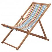 vidaXL Cadeira de praia dobrável tecido estrutura madeira multicolor