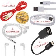 Data Cable + OTG + Audio Aux Cable + Hands Free Combo 4 in 1 Pack For mobile CODEWe-4592