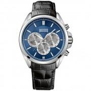 Hugo Boss 1512882 argento & nero Watch in pelle uomo cronografo Tex...