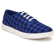 Style Shoe Men's Navy Blue Lace up Denim Canvas Shoes