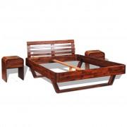vidaXL Рамка за легло с 2 нощни шкафчета, акация масив, 140x200 cм