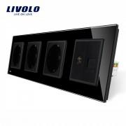 Priza cvadrupla Livolo cu rama din sticla 3 prize simple+TV/internet, negru