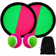 Elcoho Toss and Catch Sports Game Set Catch Bat Ball with 1 Storage Bag, 2 Paddles and 2 Balls