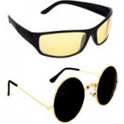 Criba Round, Sports Sunglasses(Black, Yellow)