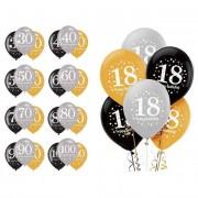 Liragram Globos de Burbujas de Champagne cumpleaños de 28 cm - 6 unidades - Número 50