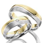VARADERO snubní prsteny kombinace bílé žluté zlato, mat C 5 WN 4 B-M Z