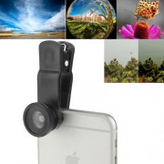 F-018 5 in 1 Universal 180 Degree Fisheye Lens + Marco Lens + 0.65X Wide Lens + CPL Lens + 2X Telephoto Lens with Clip Suit for iPhone Samsung HTC(Black)
