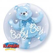 Balon double bubble 61cm qualatex, baby blue bear, 29486