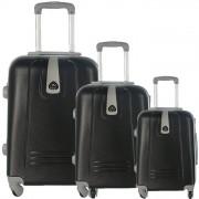 JUSTGLAM Set 3 valigie in abs leggero c/4 ruote nero