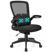 Costway Chaise de Bureau à Roulette avec Support Lombaire de Massage Rechargé par USB Dossier Haut Accoudoirs Relevables Noir