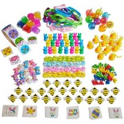 198-Piece (Plus 100 Stickers) Small Toy Assortment and Prizes for Egg Fillers, Easter Egg Stuffers, Kids Easter Egg Hunt Supplies - Surprise Kids with Bulk Mini Toys to Fill Plastic Eggs