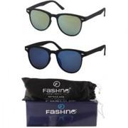 Fashno Combo Of Unisex Black Frame Yellow Green and Blue Lens Wayfarer U.V Protected Sunglasses (FCMSGN02)
