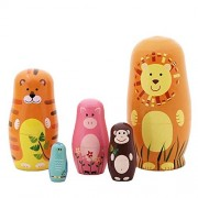 Leegoal(TM) 5pcs Nesting Doll Wooden Cute Cartoon Animals Handmade Russian Matryoshka (Animal)