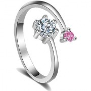 Om Jewells Rhodium Plated Stylish Pink and White CZ Stone Studded Adjustable Finger Ring for Girls and Women FR100090