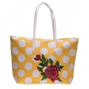 Чанта shopper 3055 жълта с бели точки