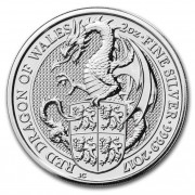 Stříbrná mince 5 Pounds The Queens Beasts The Red Dragon of Wales 2 Oz 2017