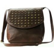 AANIA HAUTE Women Casual Brown Leatherette, Cotton Sling Bag