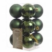 Decoris 12x Kunststof kerstballen glanzend/mat donkergroen 6 cm kerstboom versiering/decoratie