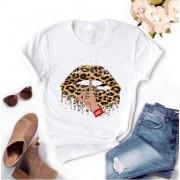Merkloos / Sans marque T-shirt wit lippen shhh - dames - vrouw - kleding - mode - shirt - korte mouw - Dames T-shirt Maat M