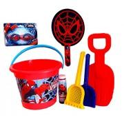 Spider Man Fun In The Sun; Spider Man Bucket, Swim Goggles, Sand Toys, & Spiderman Bubbles With Spidey Bubble Maker