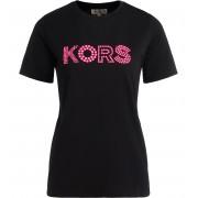 Michael Kors T shirt girocollo Michael Kors in cotone nero con logo rosa