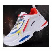 Calzado casual estudiante correr zapatos de hombre rojo y blanco
