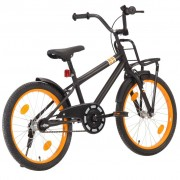 "vidaXL Bicicleta criança c/ plataforma frontal roda 20"" preto/laranja"